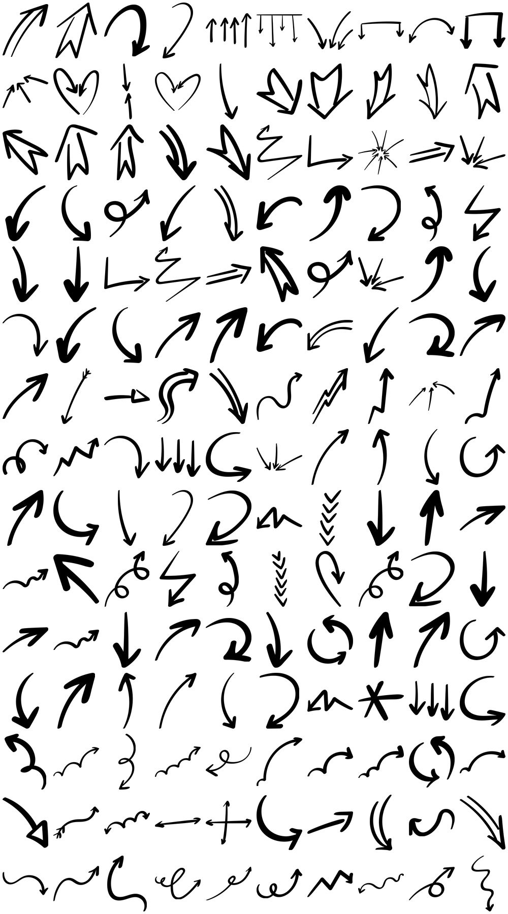 Download 150 Free Hand Drawn Arrows (PSD, EPS, PNG Hand