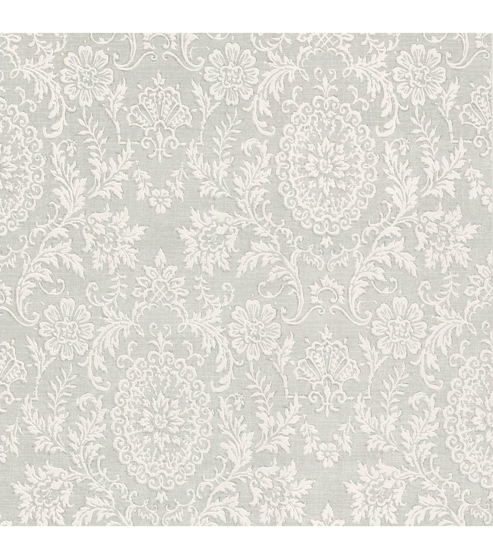 Ornament Grey Damask Motif Wallpaper