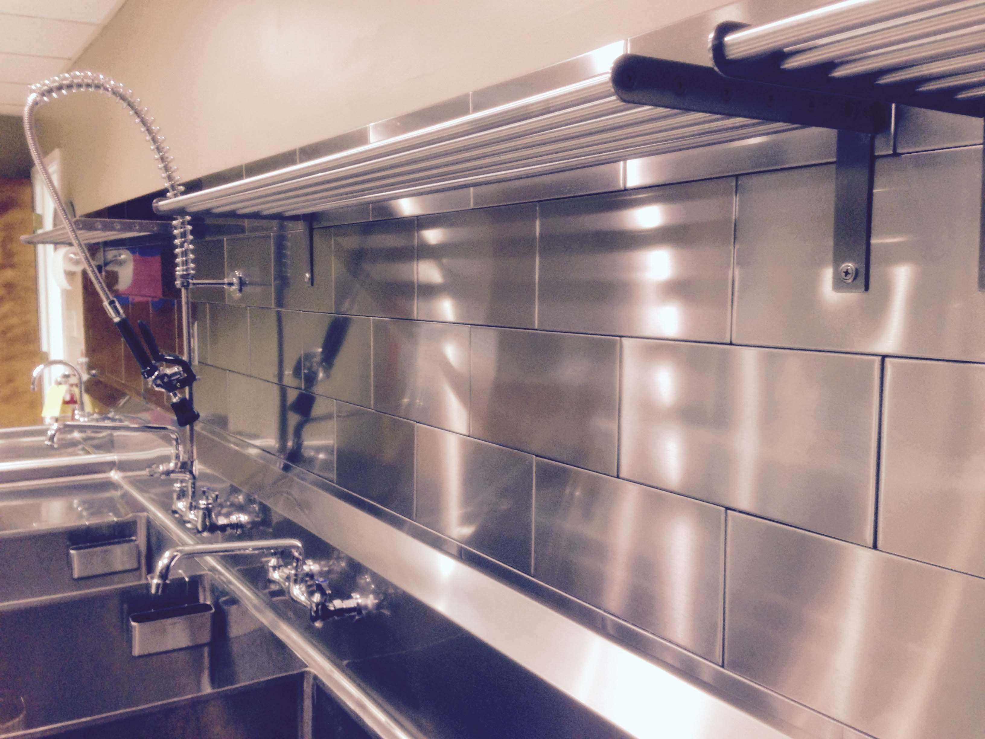 Commercial Kitchen Design Stainless Steel Tile Backsplash In Church Kitchen Http Www