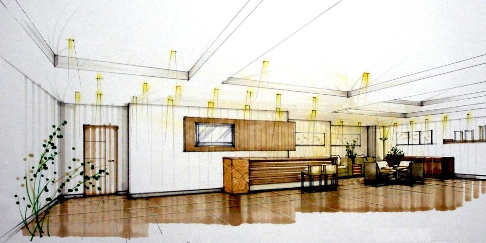 Interior Prespective Sketches Profesional | ... Interior Design Of Building  In Taiwan » Human