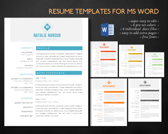 Elegant  Pages Word Resume By Inkpower On Creative Market  Best