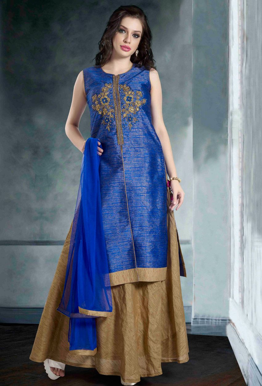 Blue Dupion Raw Silk Sharara Suit | Pinterest | Sharara, Indian wear ...