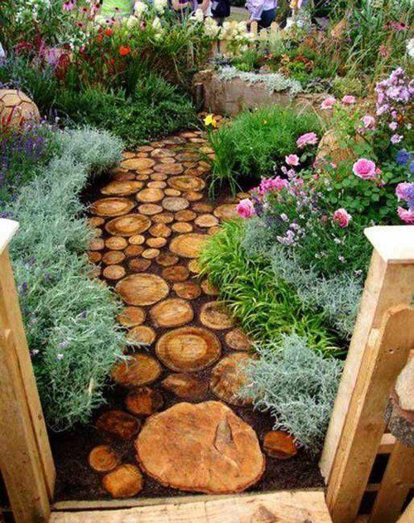 100 Bilder zur Gartengestaltung - die Kunst die Natur zu - gartenwege aus holz anlegen