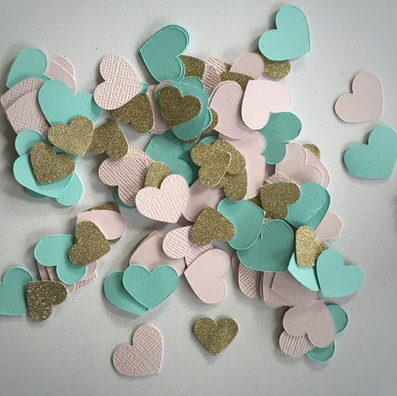Heart Confetti, Blush Pink Gold Glitter Mint Green Aqua, Double Sided Glitter, Wedding Invitation Envelope, Shower Decorations, Party Table Decor by WildfireEvents