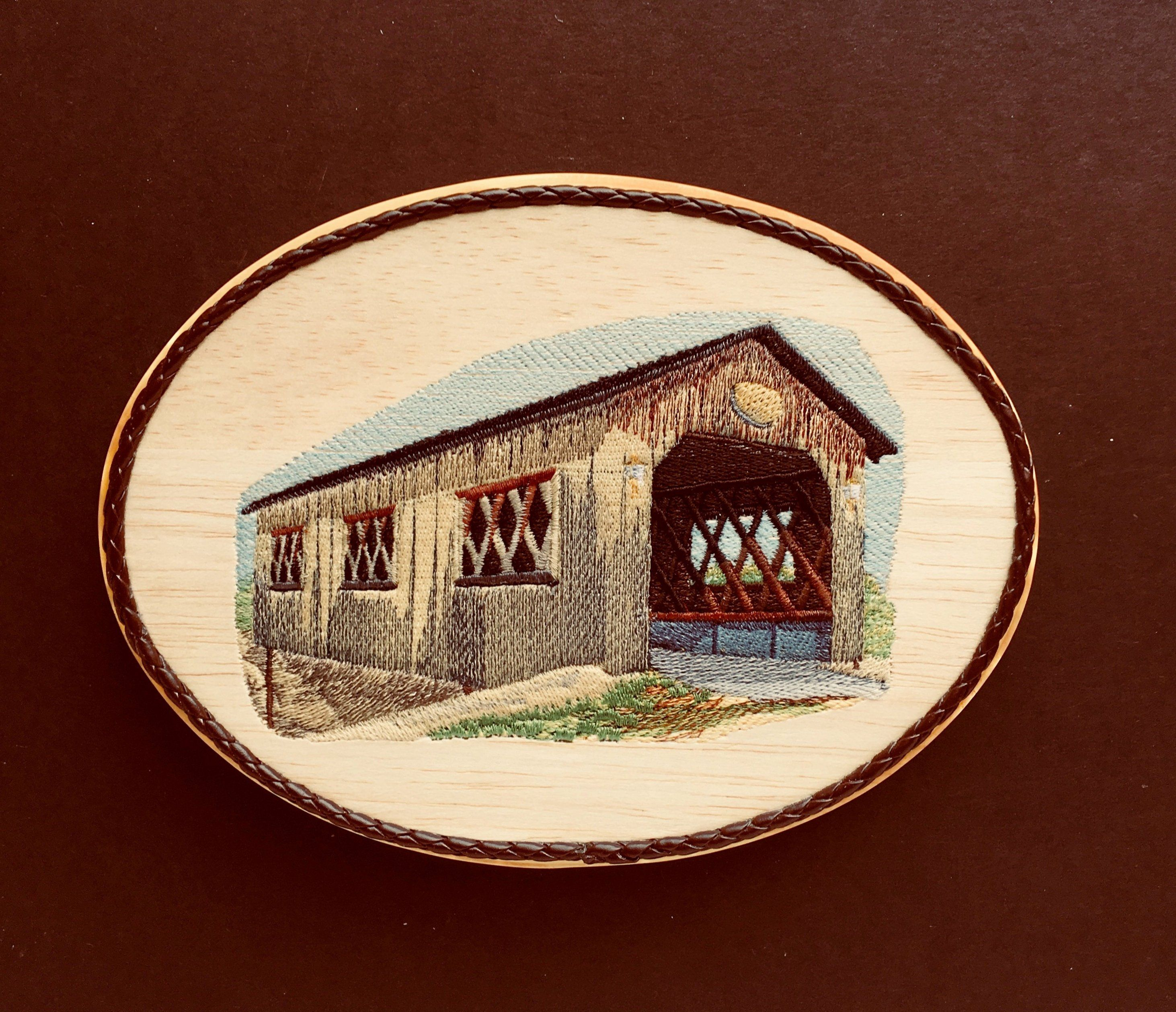Covered bridge embroidery art on balsa wood rustic home decor