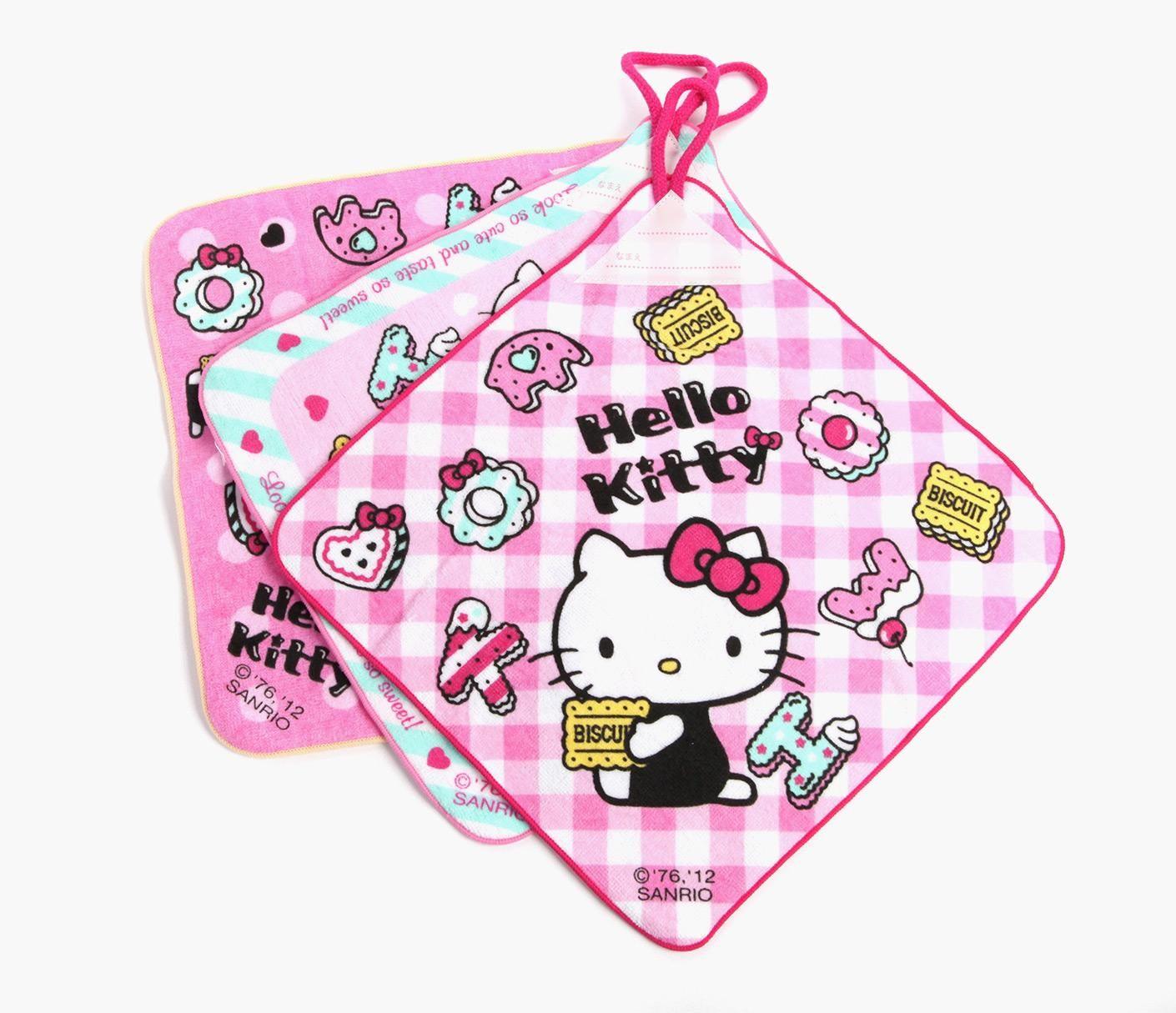 Hello Kitty 3Piece Wash Towel Set with Loop Hello kitty