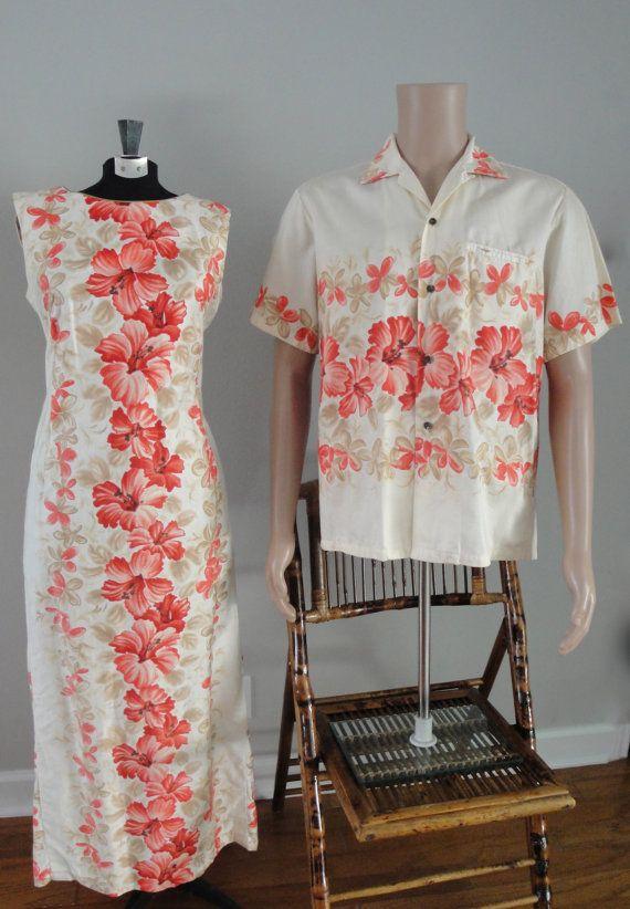 570803e85a6d Vintage early 1960s 60s late 1950s Hawaiian Dress and Shirt Cotton Hawaiian  Togs Aloha Made in Hawaii