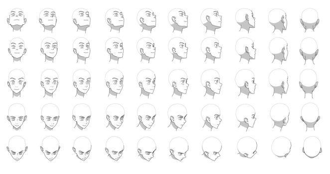 Turnaround Deviantart Head Angles Anime Head Face Angles