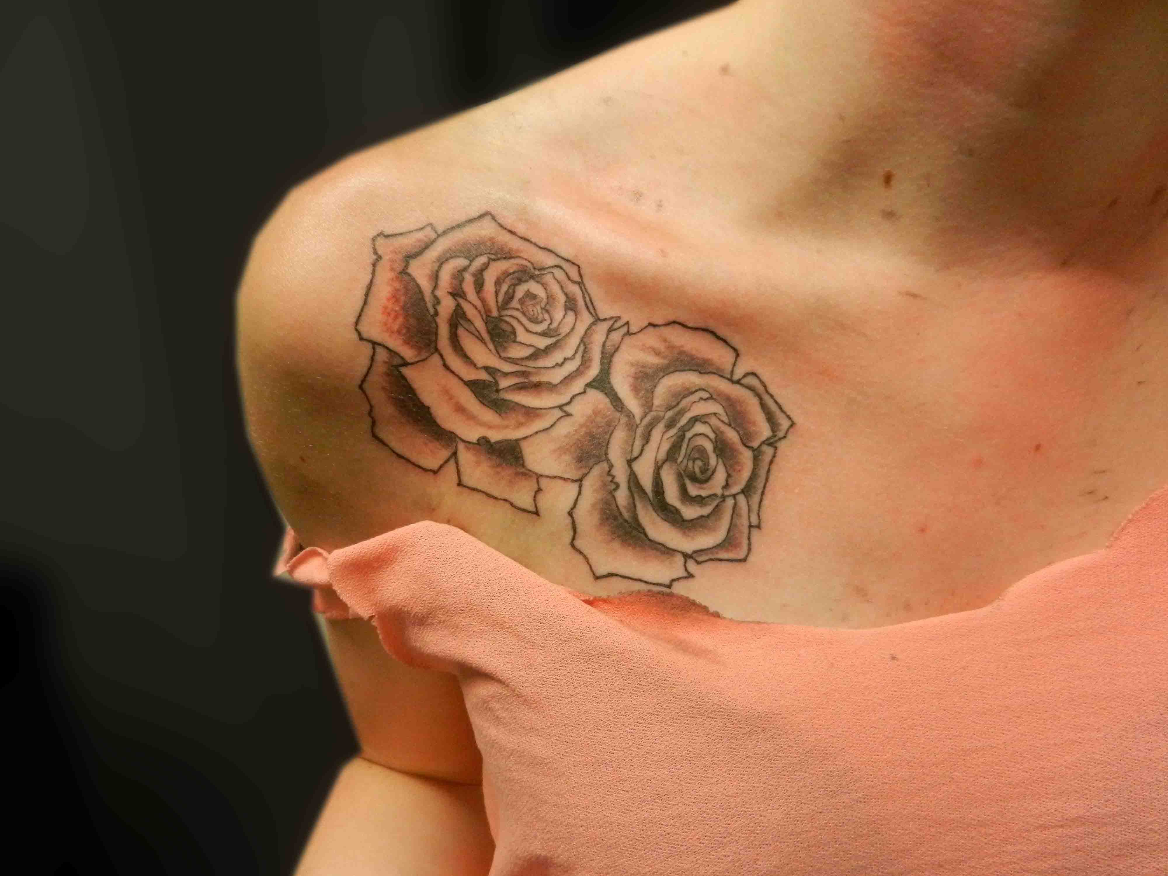 Black And Grey Shaded Roses Shoulder Tattoo Rose Tattoos Front Shoulder Tattoos