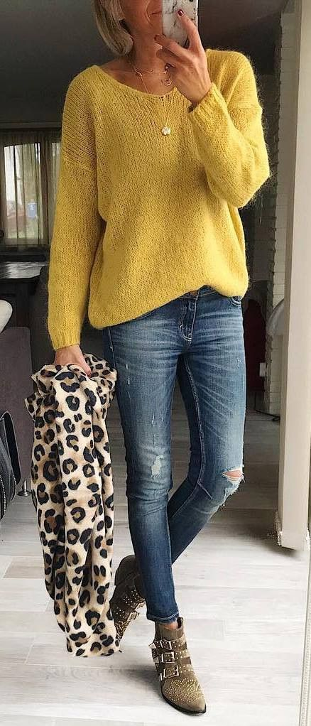 daabbc80851a how to wear an animal printed scarf : yellow sweater + ripped jeans + boots