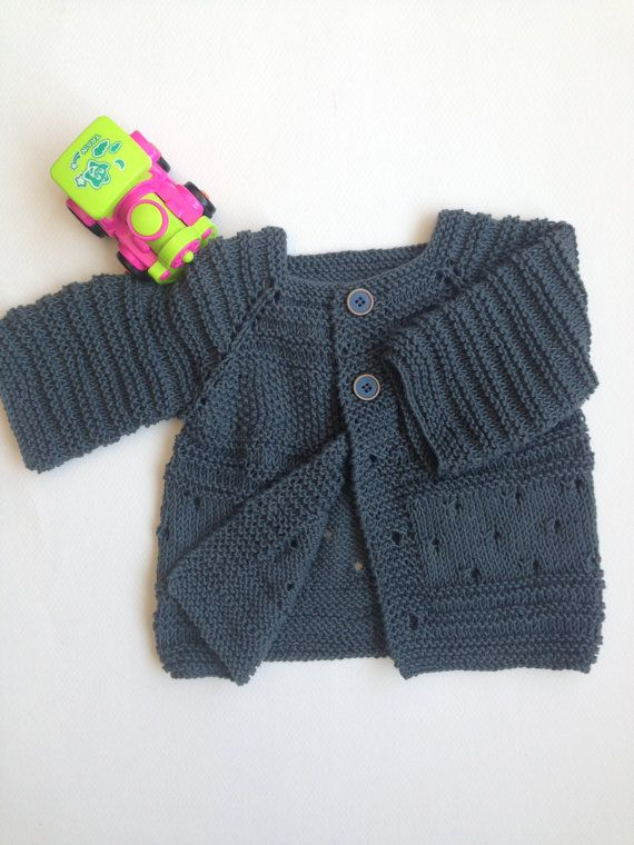Baby cardiganHand knitted Grey Free Shipping by Serefdecan on Etsy
