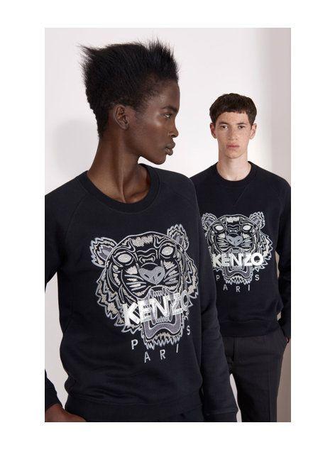 Kenzo propose une édition limitée, spéciale Noël, de son célèbre sweatshirt  Tiger. On retrouve cette tête de tigre emblématique, imprimé en argent  brodé sur ... 59f825c25b6