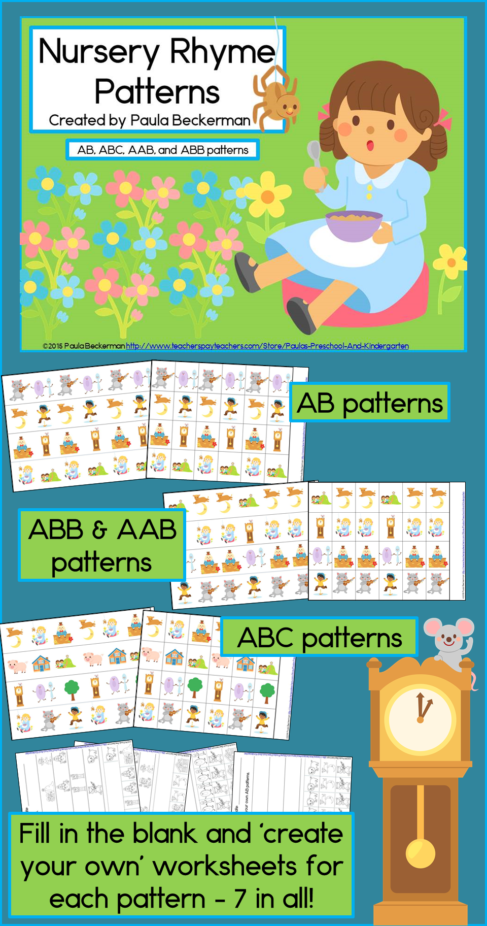Nursery Rhyme Patterns Math Center with AB, ABC, AAB & ABB Patterns ...