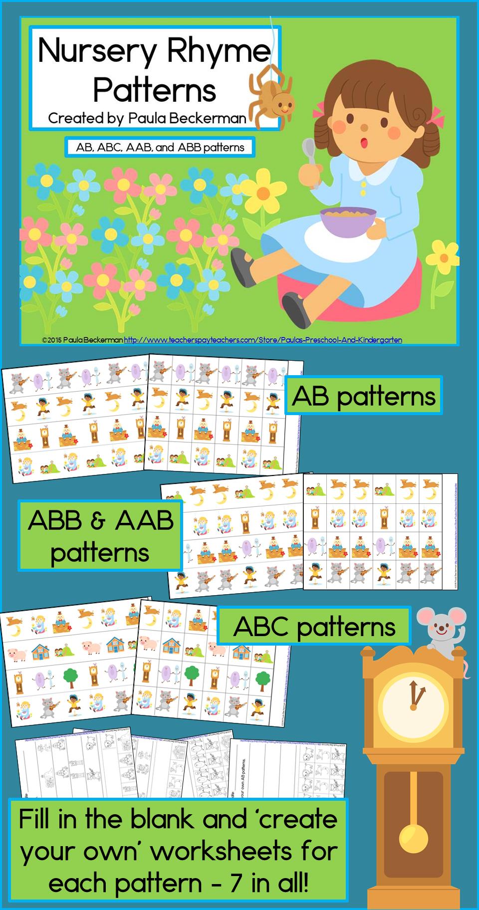 Workbooks rhyming patterns worksheets : Nursery Rhyme Patterns Math Center with AB, ABC, AAB & ABB ...