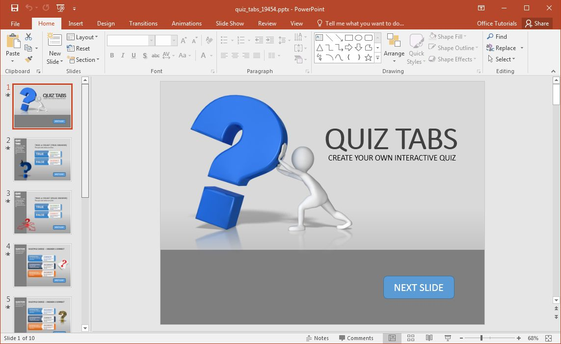 Create A Quiz In Powerpoint With Quiz Tabs Powerpoint Template Throughout How To Create A Template In In 2020 Powerpoint Quiz Template Powerpoint Templates Powerpoint