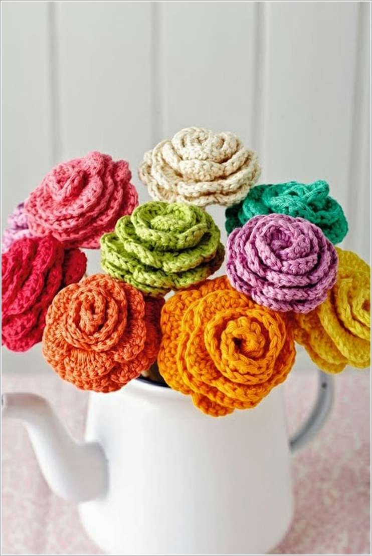 Amazing interior design 15 lovely ideas to decorate with crochet beautiful crochet bright roses in vase izmirmasajfo