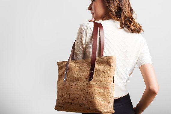 Bark Cloth with Cork Base Tote Bag