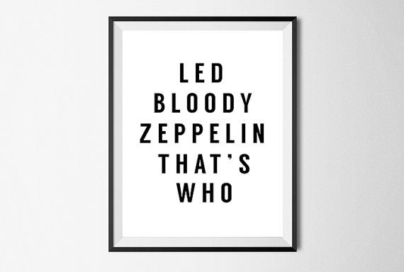 Led Zeppelin, Wall Art Print, Rock Poster, Quote, Gallery Wall #8 ...