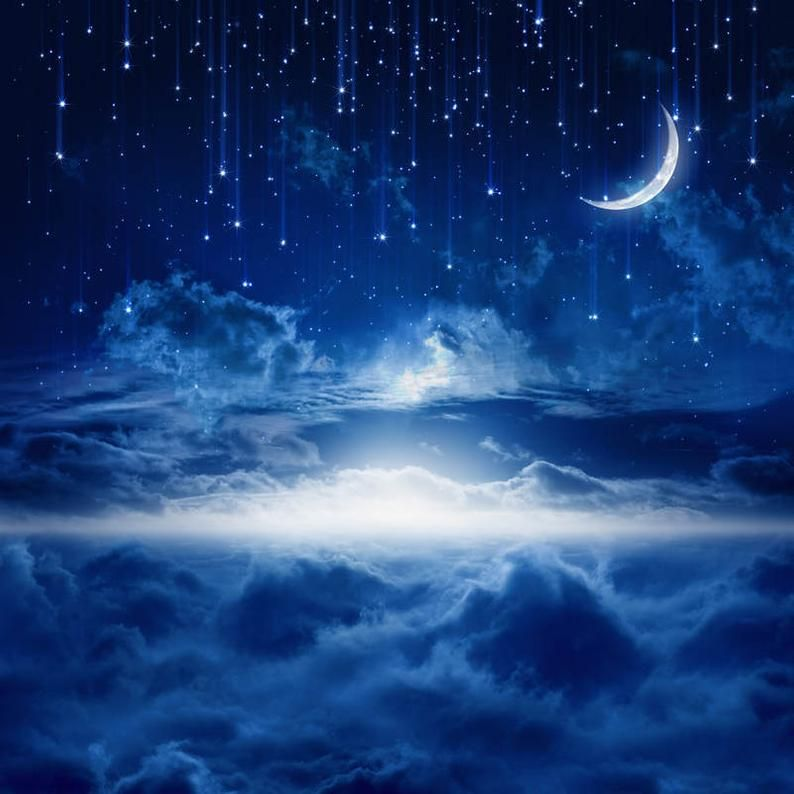Dark Blue Night Bright Moon Falling Stars Photography Etsy Beautiful Night Sky Star Wallpaper Night Skies Cool night sky moon wallpaper for