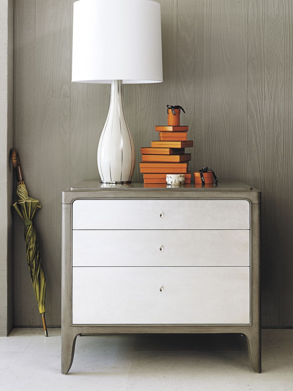 Barbara Barry Soft Corner Bedside Chest And Swan Line Table Lamp. Custom  Orders Available At Mathis Brothers Furniture In Tulsa, Oklahoma.