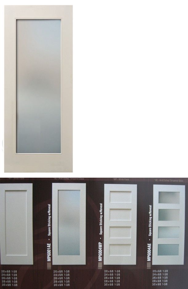 Primed Interior Door New Modern Style 1 Lite Frosted Glass Asst