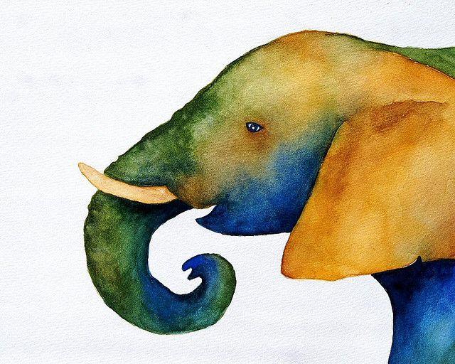 Acquerelli Bambini ~ Watercolour elephant #watercolour #elephant watercolor pinterest
