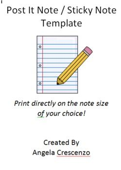 post it note sticky note printing template freebie diy teacher