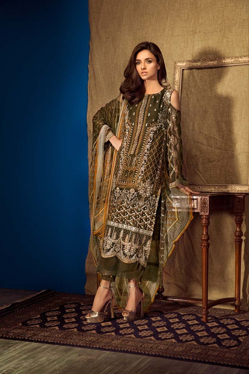 Dark Brown Blended Embroidered Pakistani Dress By Gul Ahmed Springcollection Spring Readytowear Pretwear Unstitched Fashion Girl Fashion Pakistani Dresses,Dress Sandals For Beach Wedding