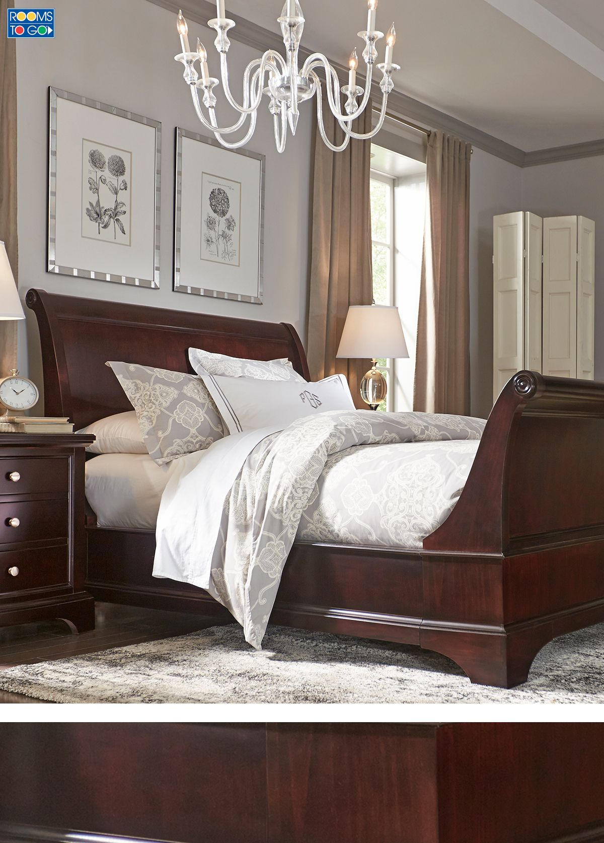 Fresh Whitmore Cherry 6 Pc Queen Sleigh Bedroom | You ve, Curves and Choices PC77