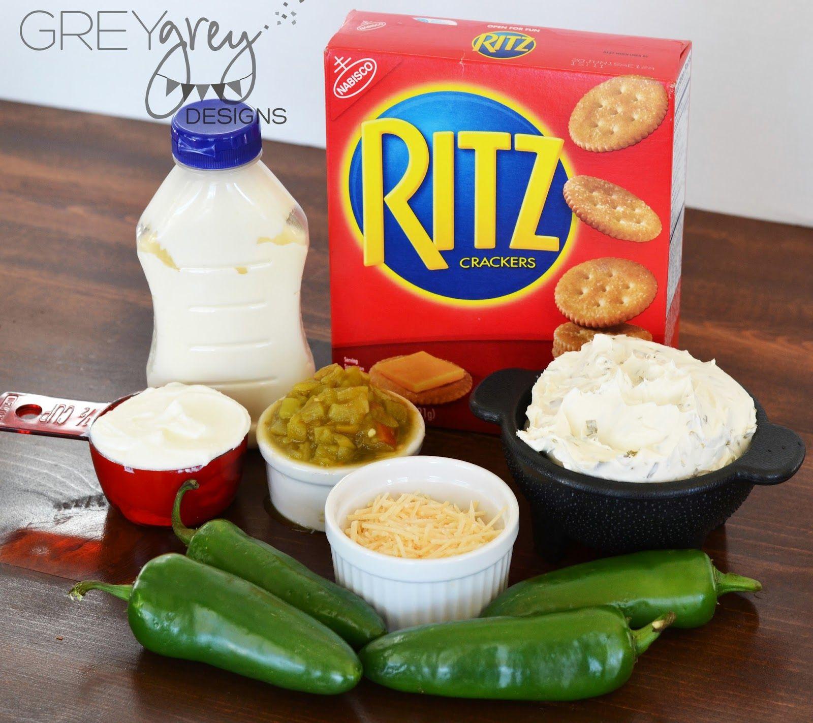 Hot Jalapeno Popper Dip with Ritz Crackers--GreyGrey Designs