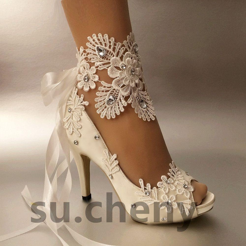 Su Cheny 3 4 Heel White Ivory Satin Lace Ribbon Open Toe Wedding Bridal Shoes Wedding Shoes Lace Peep Toe Wedding Shoes Wedding Shoes Open Toe