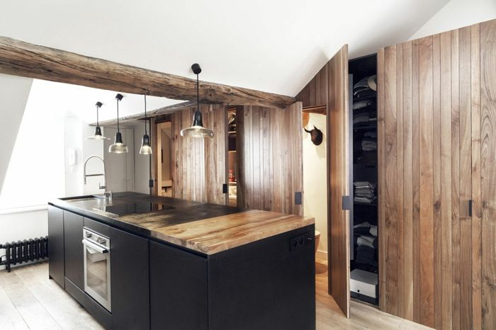 kueche dachschraege hoelzerne wandverkleidung Küche Möbel