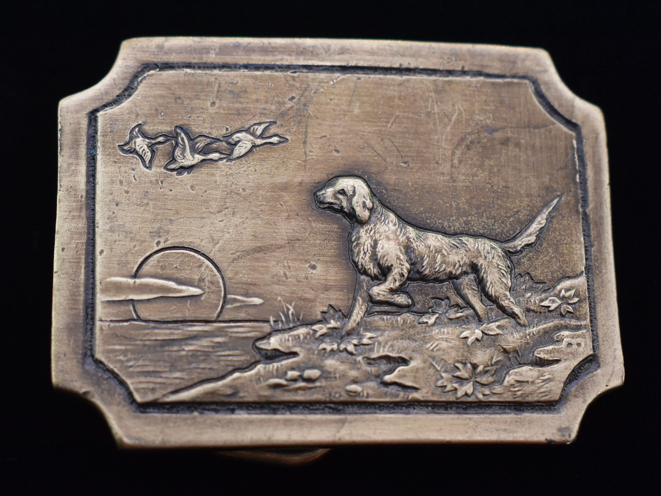 1970s Bird Dog Retriever Pointer Vintage Belt Buckle