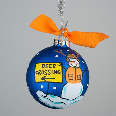 Glory Haus Deer Crossing Glass Ball Ornament