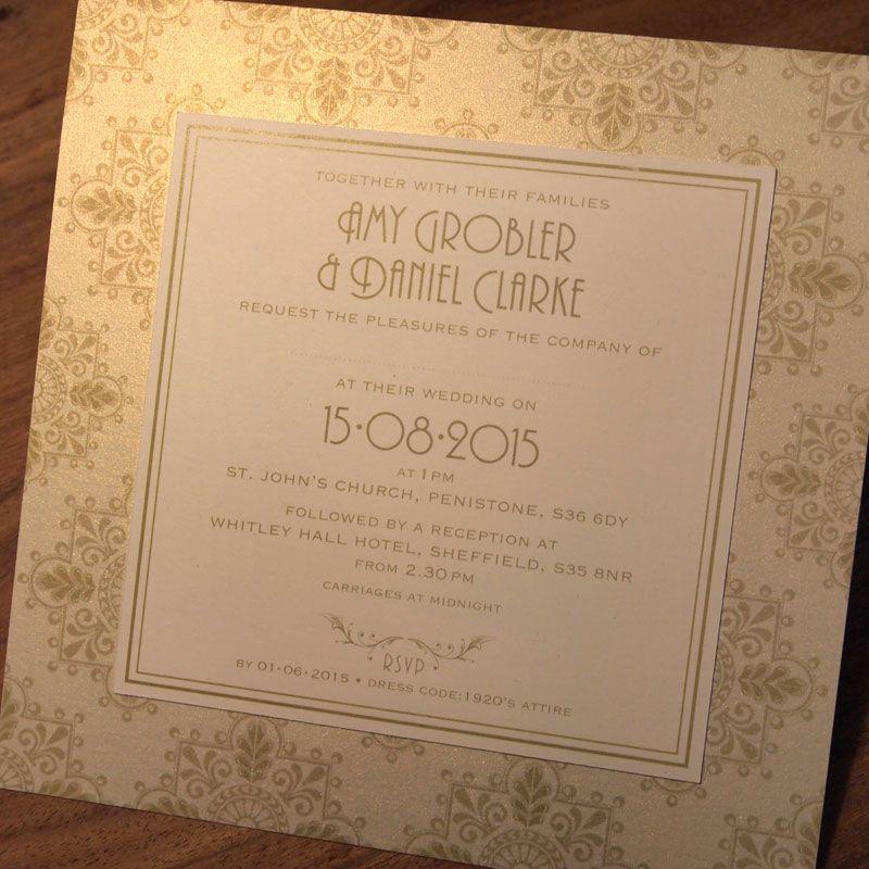 Art Deco Wedding Invitations - Savoy design with co-ordinating Reply ...