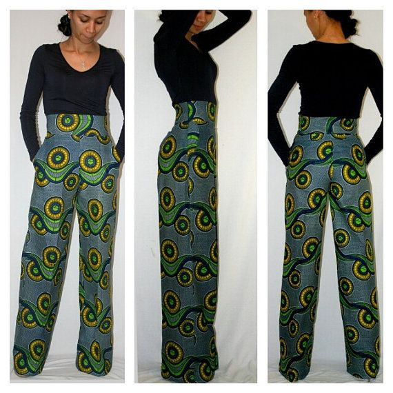aef36c24d7e3a Wide Leg African Print Pants by MelangeMode on Etsy