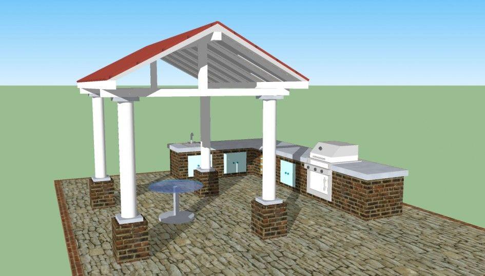 Kitchen Plans With Square Wooden Gazebo