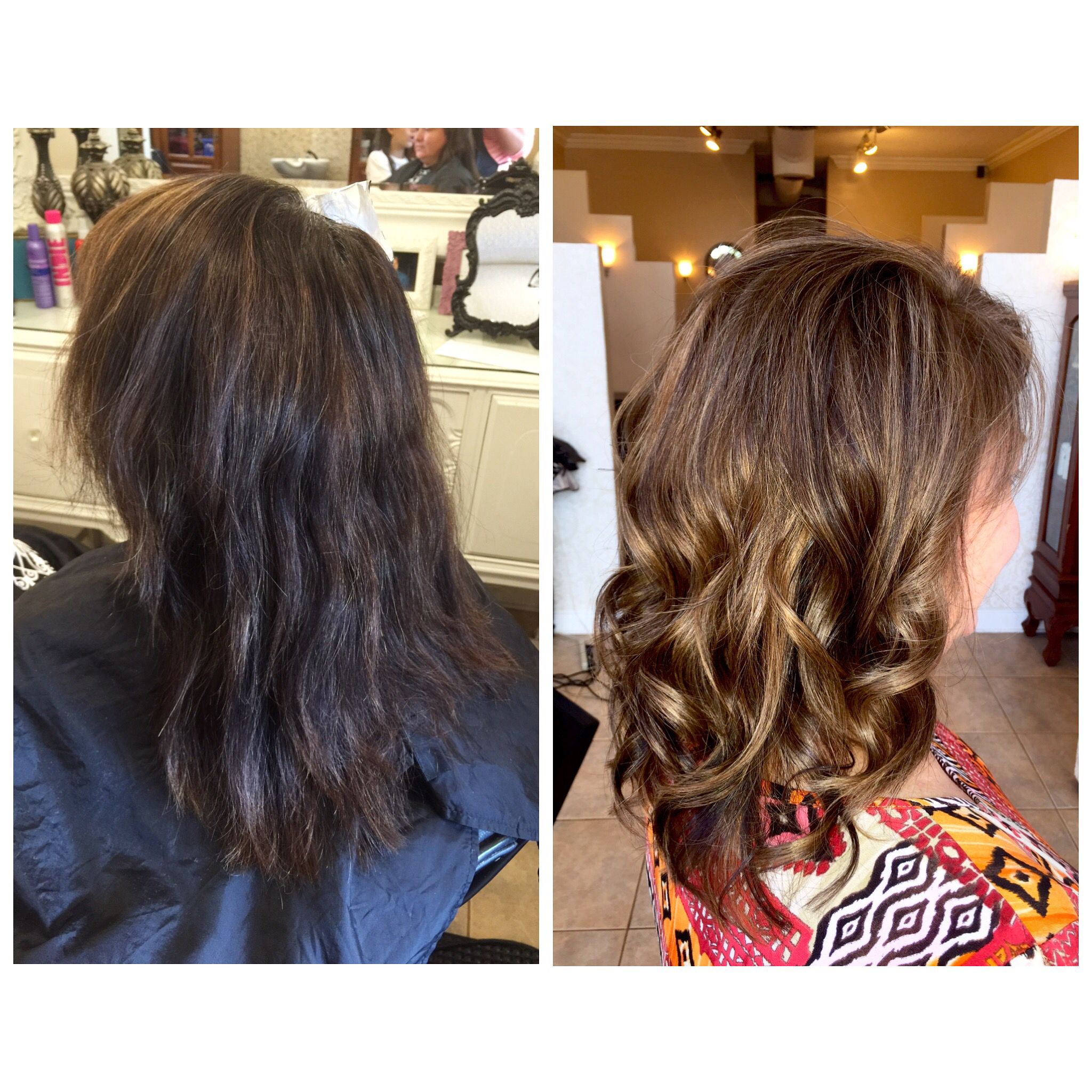 Before/after dry brittle damaged hair to soft flowy highlighted with ...