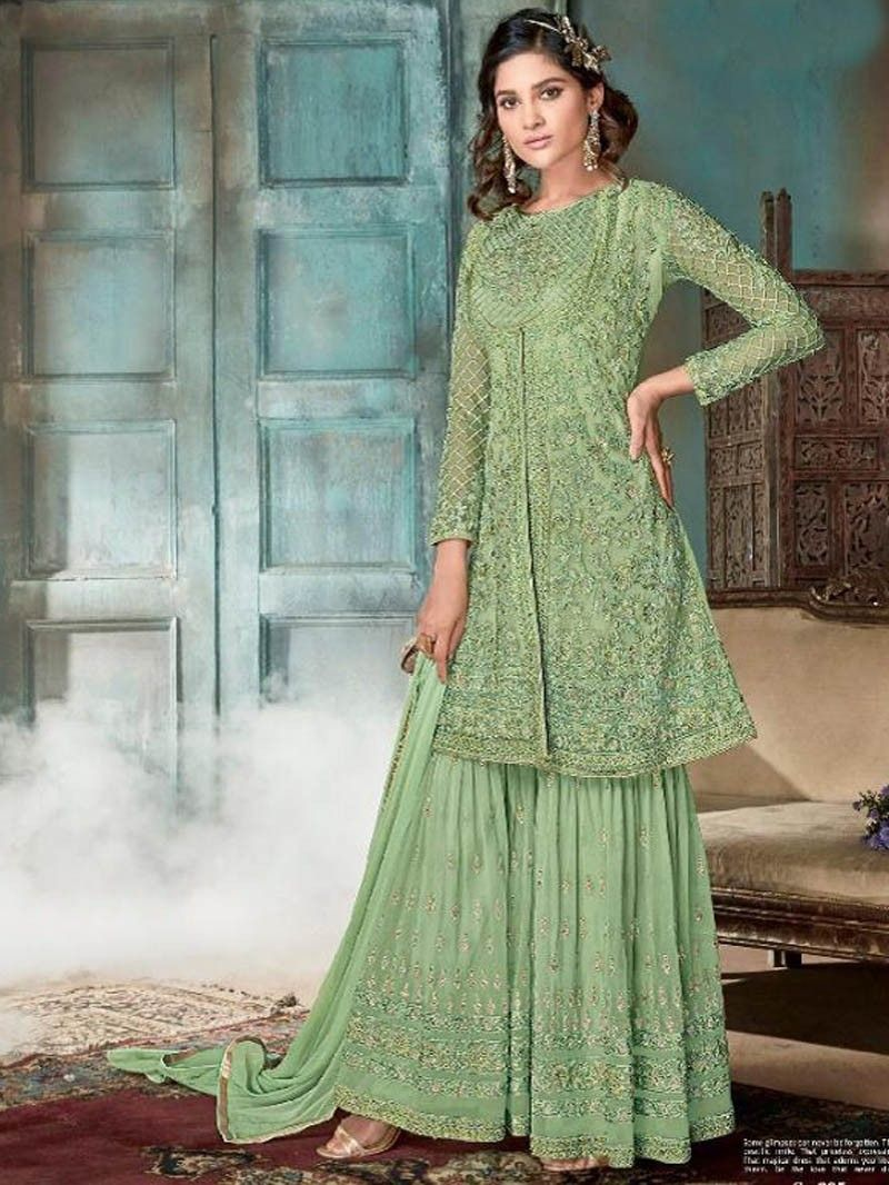 45f3968c84 Designer Party Wear Green colour Embroidered Plazo Suit with Dupatta ...