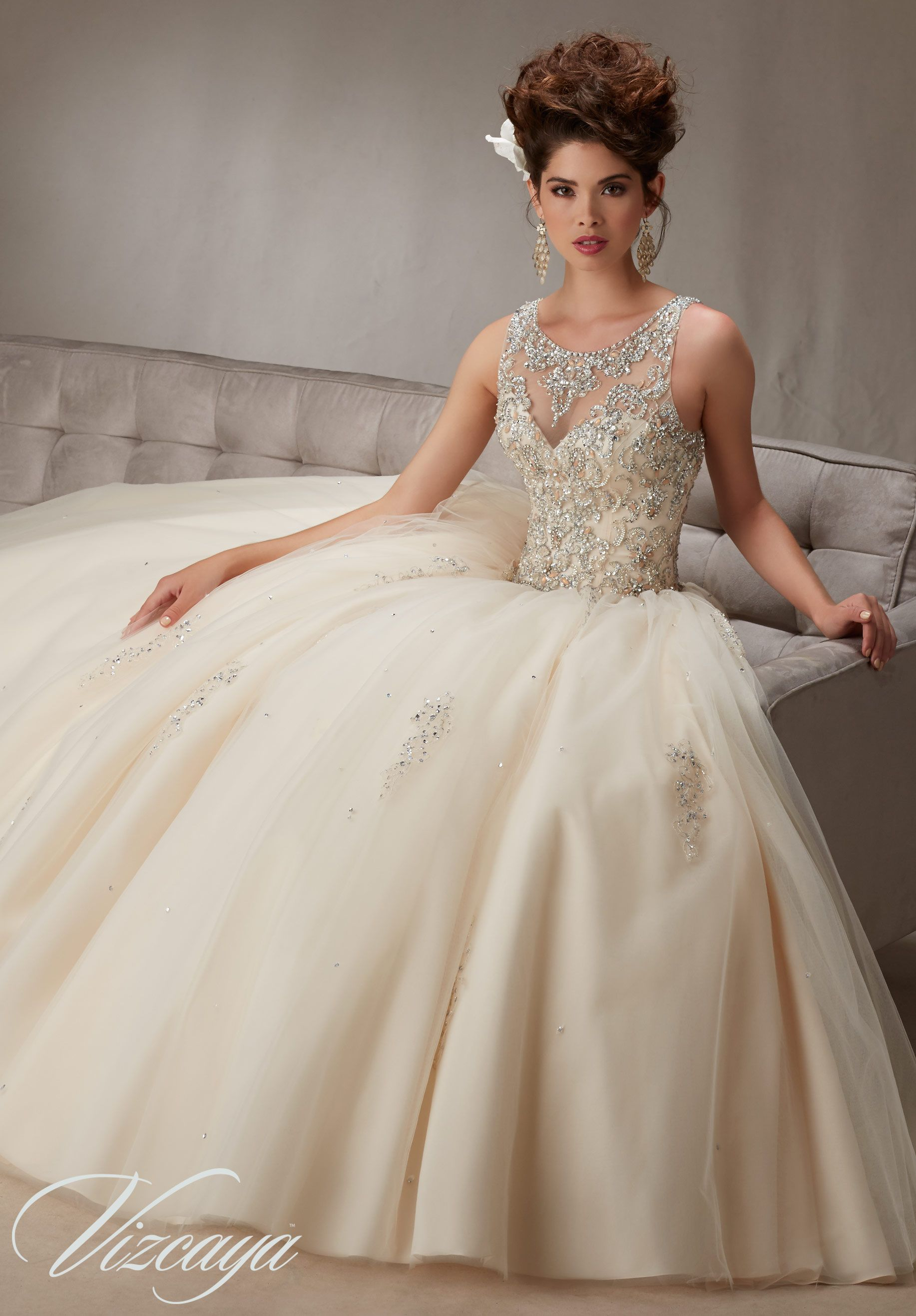 71335bf079f Embroidery and Beading on a Tulle Ball Gown Quinceañera Dress in ...