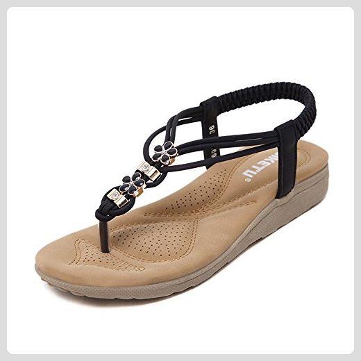 Hunpta Frauen Bohe Rhinestone Art und Weiseflache große Größen beiläufige  Sandelholz Strand Schuhe (40,