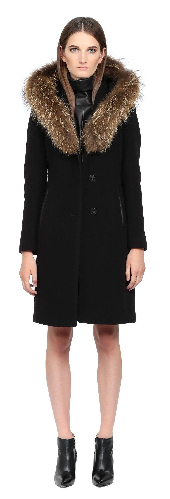 Long Black Wool Coat With Hood | Down Coat