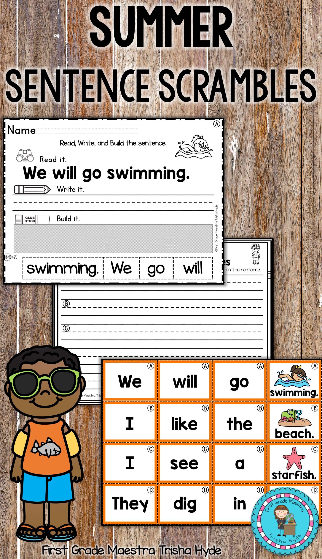 Free Sentence Scramble Kindergarten Worksheet
