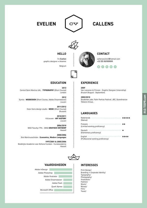 The One Color Résumé Graphic Pinterest Cv ideas