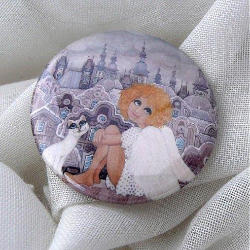 Andělka s kočičkou - placka by Zuzana.Honsova - SAShE.sk - Handmade Odznaky/Brošne