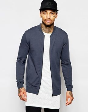 ASOS Jersey Muscle Bomber Jacket In Navy