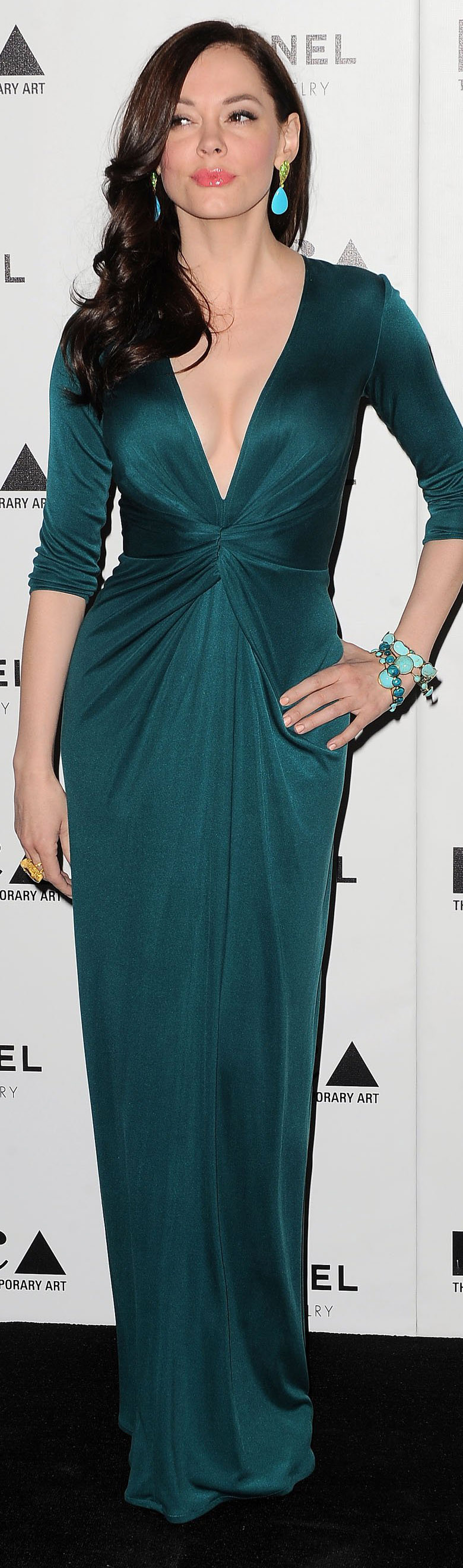 Rose mcgowan iss gown turquoise jewelry uc party dresses