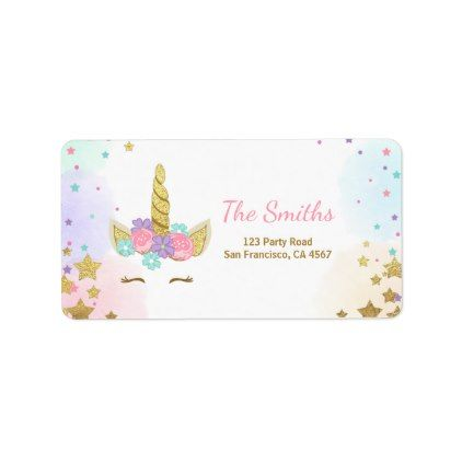 Unicorn Address Label Pink Gold Magical Rainbow  Return Address