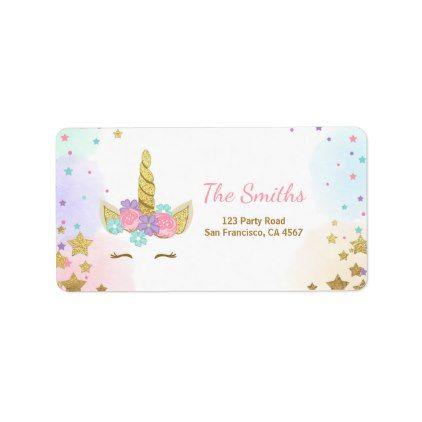 Unicorn Address Label Pink Gold Magical Rainbow  Return Address
