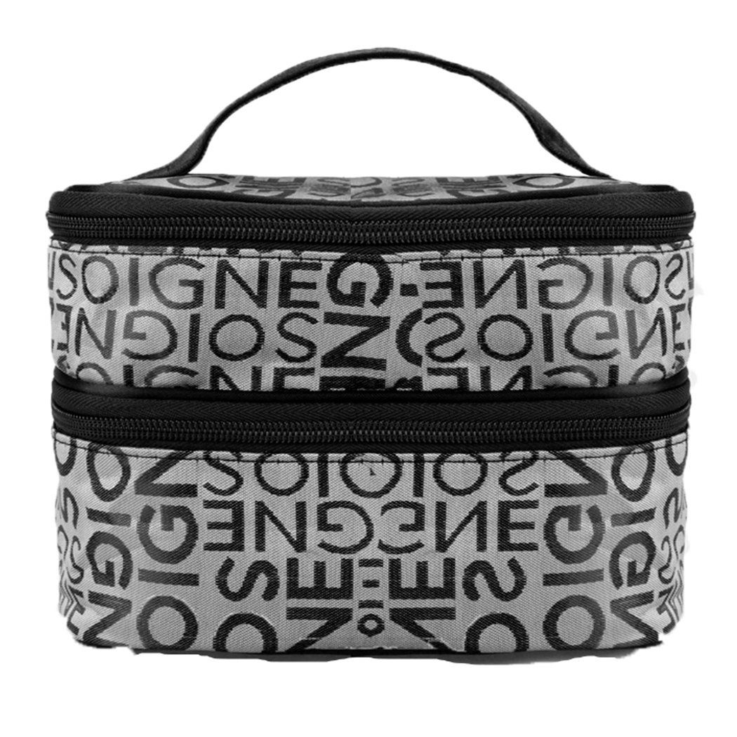 eshion Women Portable Travel Zipper Plaid Cosmetic Makeup Bag Toiletry Case With Mirror (One Size, Gray2)